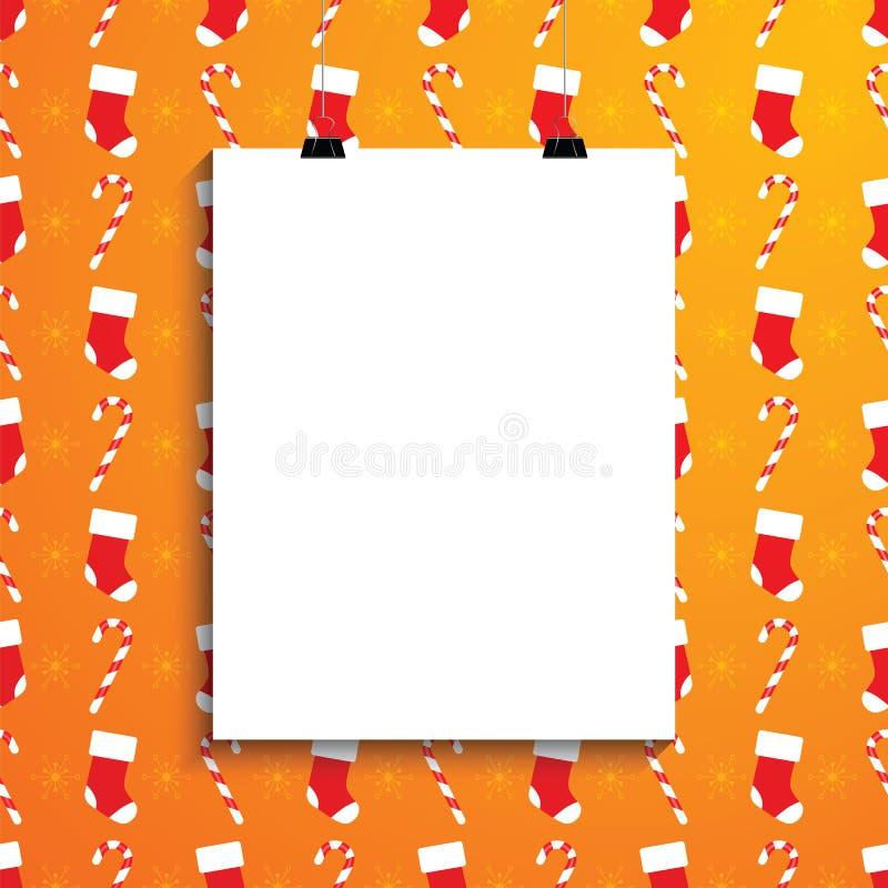 Lege Witboekspatie over achtergrond met Kerstmisriet, zo stock illustratie
