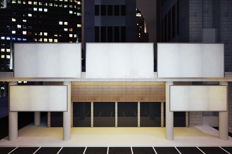 Lege witte aanplakborden bij de moderne bouw in het district van de nachtstad royalty-vrije illustratie