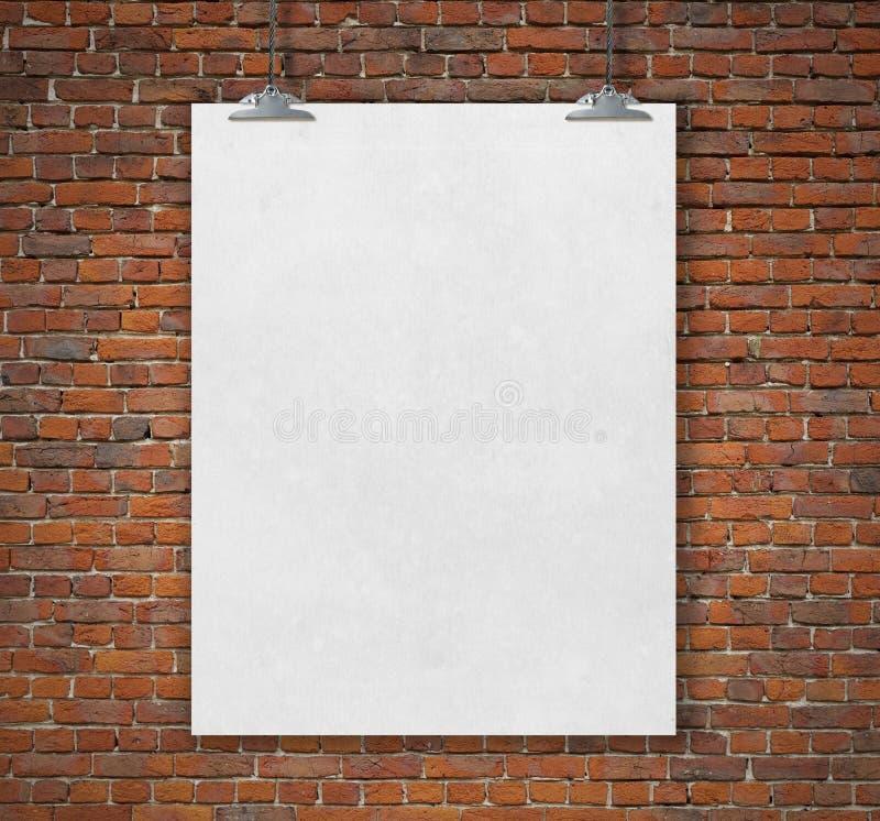 Lege witte affiche op een kabel royalty-vrije illustratie