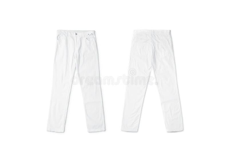Lege witte broek liggende onechte omhooggaande, voor en achterkant stock foto
