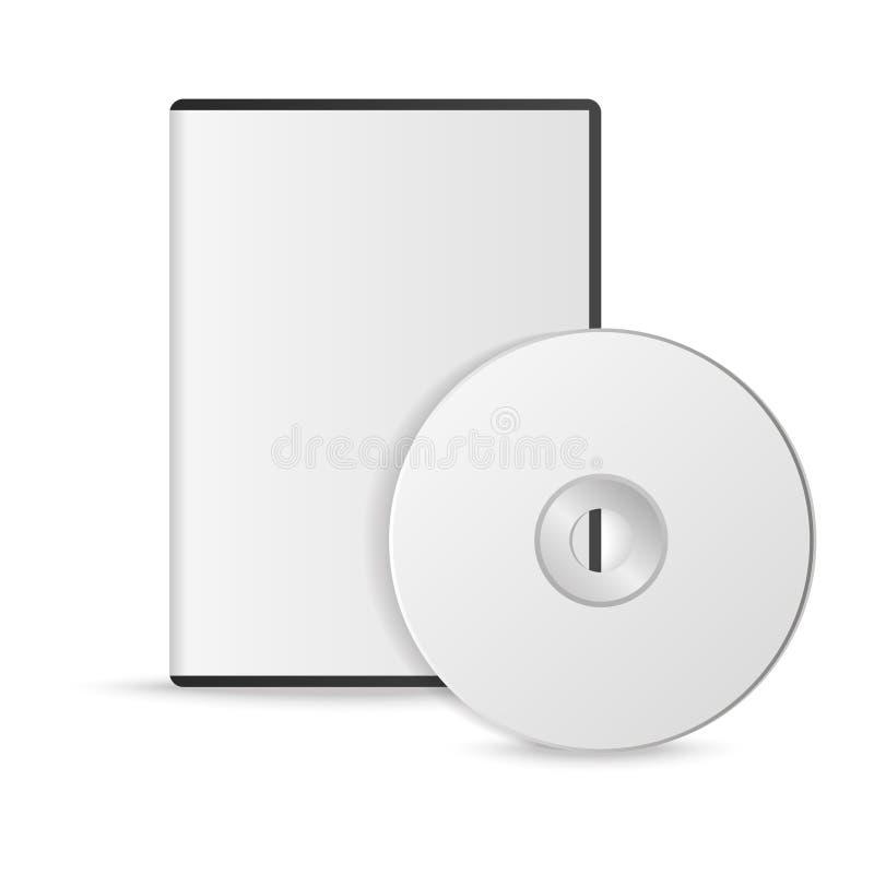 Lege witte CD met dekking op houten lijst en concrete muurachtergrond Spot omhoog CD schijf Vector illustratie vector illustratie