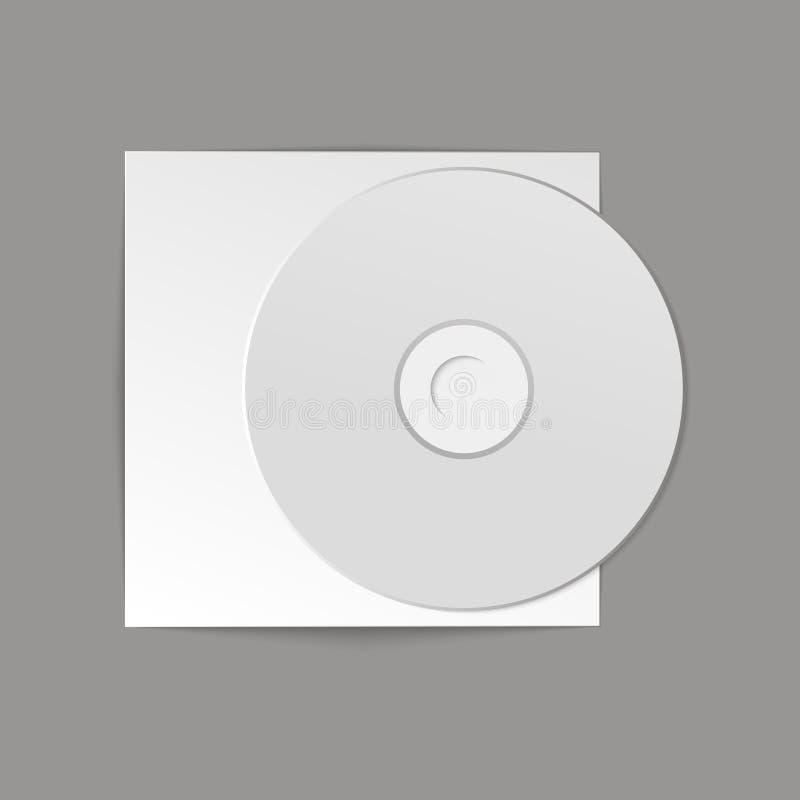 Lege witte CD met dekking op houten lijst en concrete muurachtergrond Spot omhoog CD schijf Vector illustratie stock illustratie