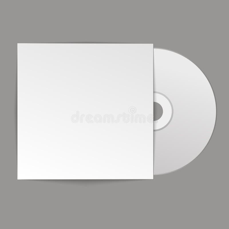 Lege witte CD met dekking op houten lijst en concrete muurachtergrond Spot omhoog CD schijf Vector illustratie royalty-vrije illustratie