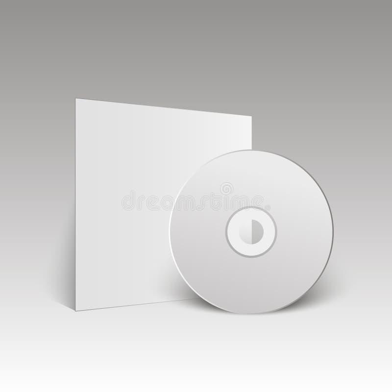 Lege witte CD Spot omhoog CD schijf Vector illustratie stock illustratie