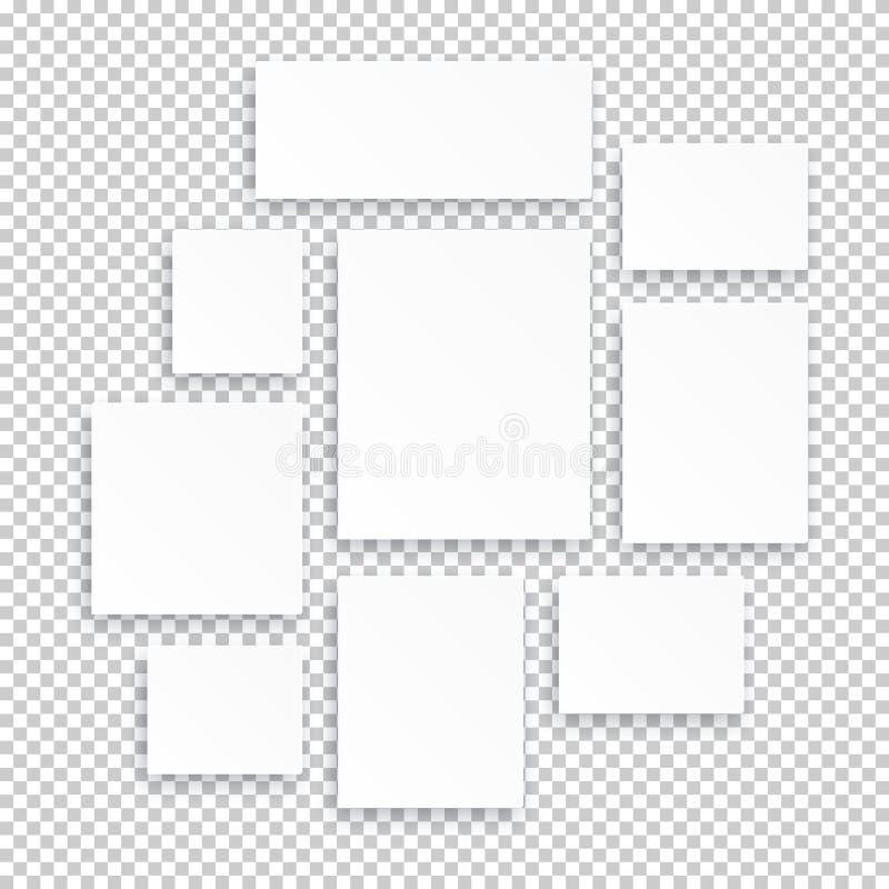 Lege witte die 3d document canvas of fotokaders op transparante achtergrond worden geïsoleerd royalty-vrije illustratie