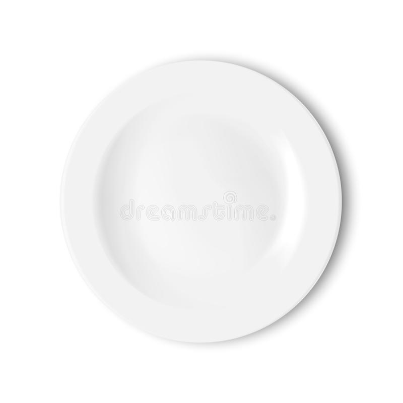 Lege witte die plaat op witte achtergrond wordt ge?soleerd Vector illustratie stock illustratie
