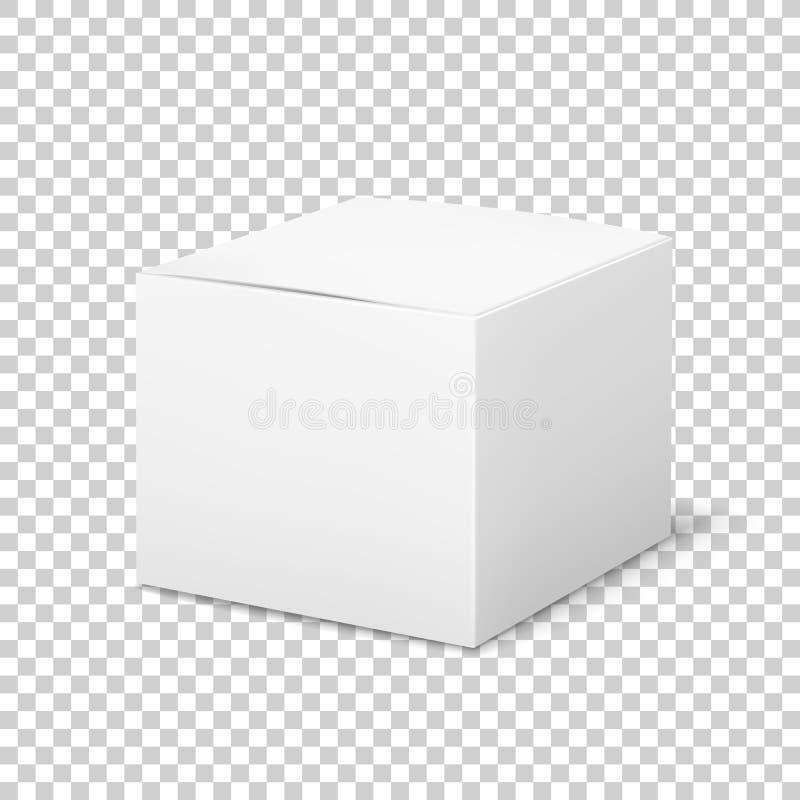 Lege witte doos Lege pakket van de karton het kubieke kosmetische doos met het product die van de schaduwengeneeskunde vectormalp royalty-vrije illustratie