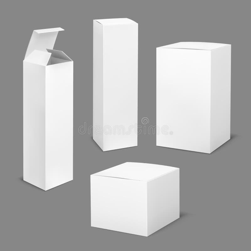 Lege witte doos Rechthoekige lege pakket van karton het kosmetische dozen met het product van de schaduwengeneeskunde verticale v vector illustratie