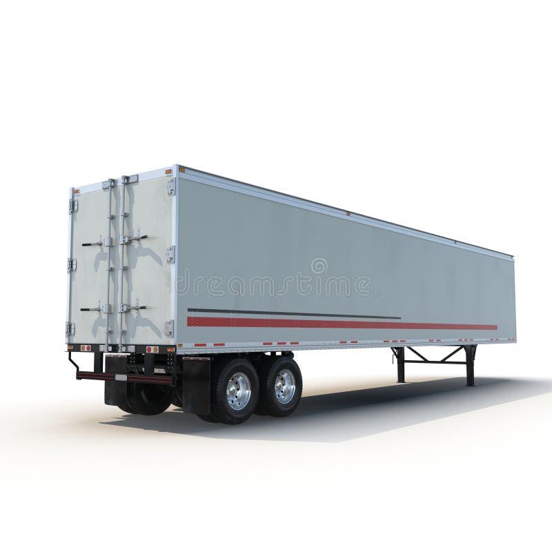 Lege witte geparkeerde semi die aanhangwagen, op witte 3D Illustratie wordt geïsoleerd stock afbeeldingen