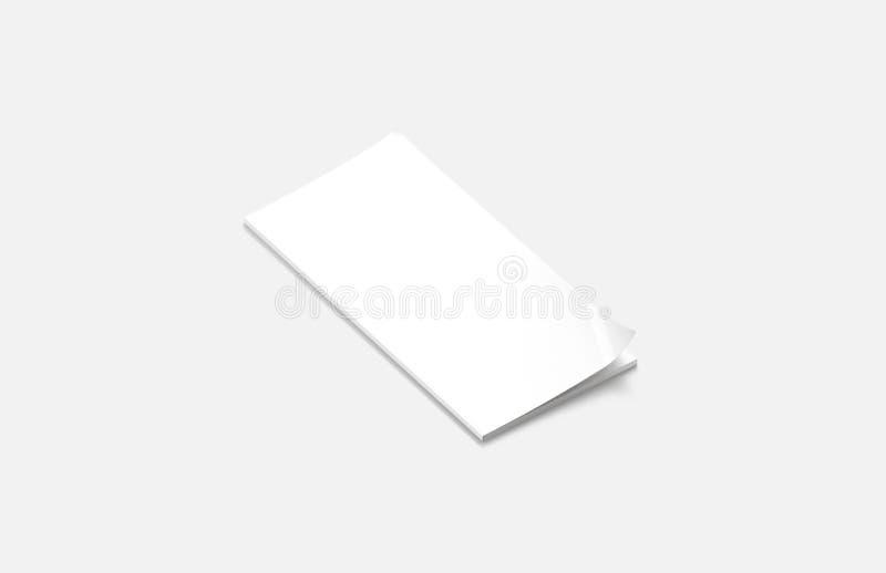 Lege witte gesloten rechthoekige tijdschriftspot omhoog, zijaanzicht, stock illustratie