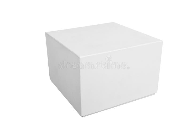 Lege witte giftdoos op witte achtergrond stock foto's