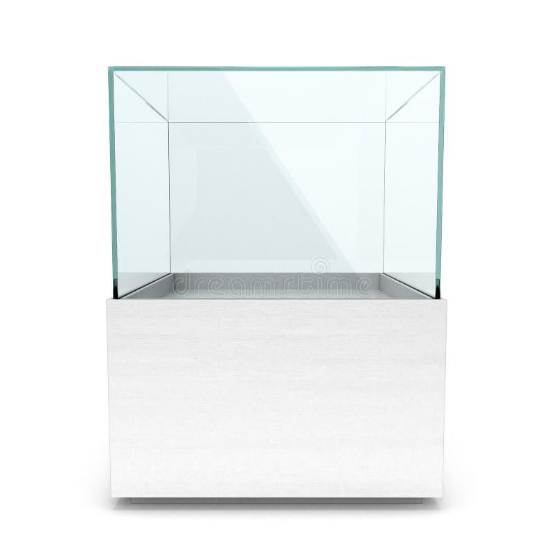 Lege witte glasshowcase voor tentoongesteld voorwerp vector illustratie