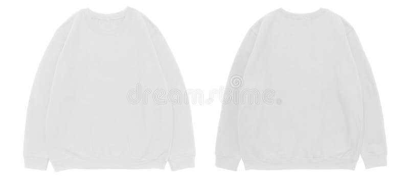Lege witte het malplaatje voor en achtermening van de sweatshirtkleur stock afbeeldingen