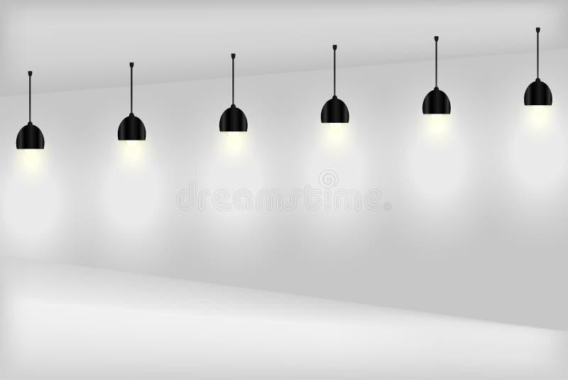 Lege witte muur met lampen royalty-vrije stock foto's