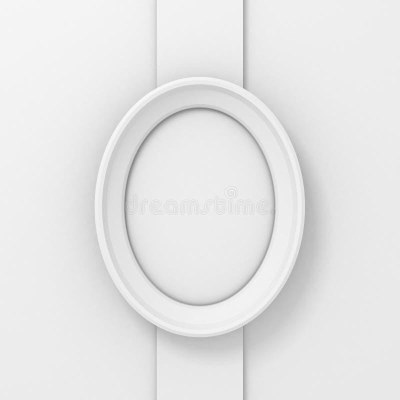Lege witte ovale omlijsting op de muurkolom vector illustratie