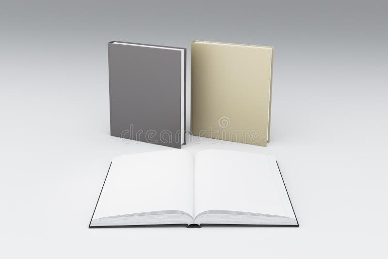 Lege witte pagina's van geopend boek vooraan twee anderen stock illustratie