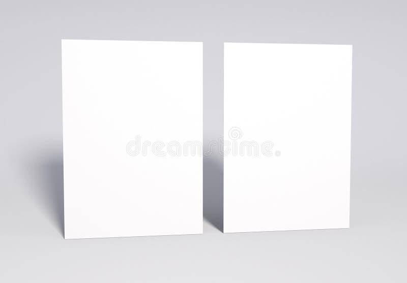 Lege 2 witte Pagina'sspot omhoog, het 3d teruggeven stock foto's