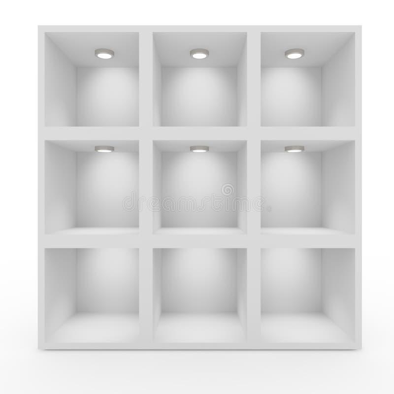 Lege Witte Planken Met Verlichting Stock Afbeelding - Afbeelding ...
