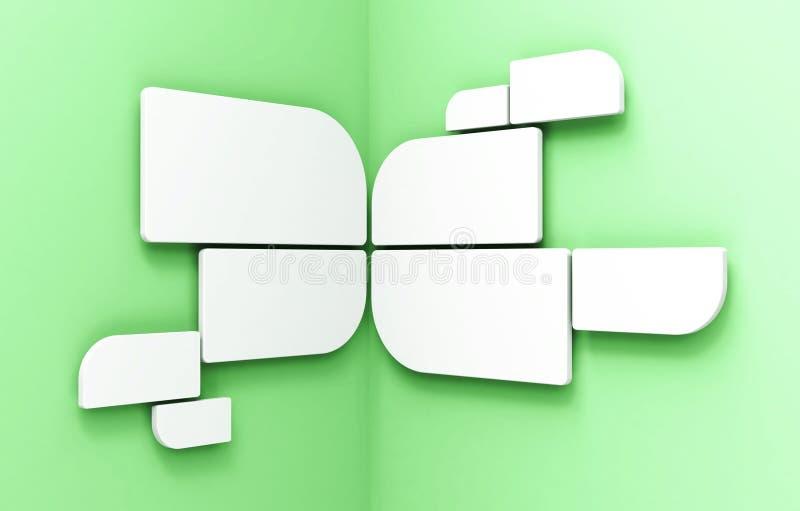 Lege witte ronde frames op hoekmuur royalty-vrije illustratie