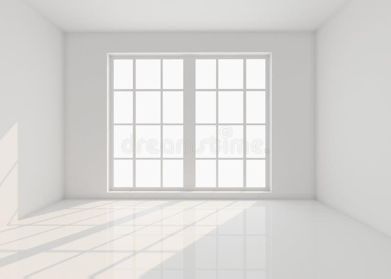 Lege witte ruimte met venster en zonlicht 3d illustratie; vector illustratie