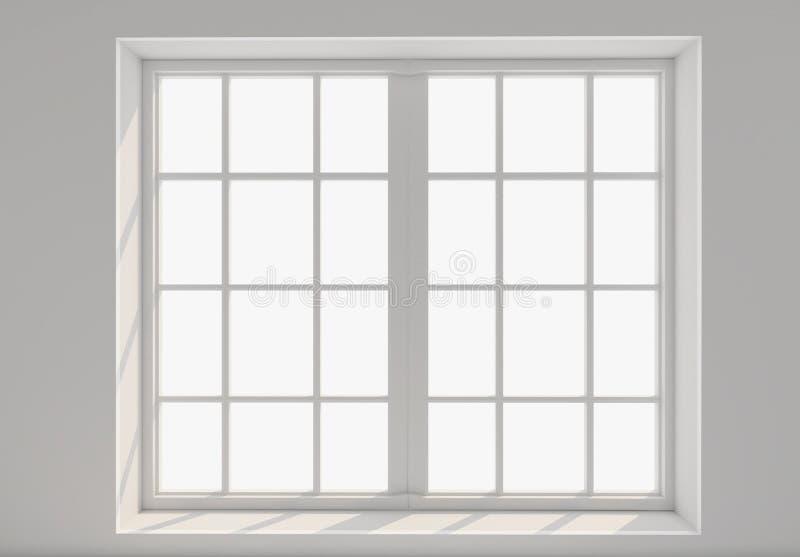 Lege witte ruimte met venster en zonlicht Model, malplaatje 3d royalty-vrije illustratie