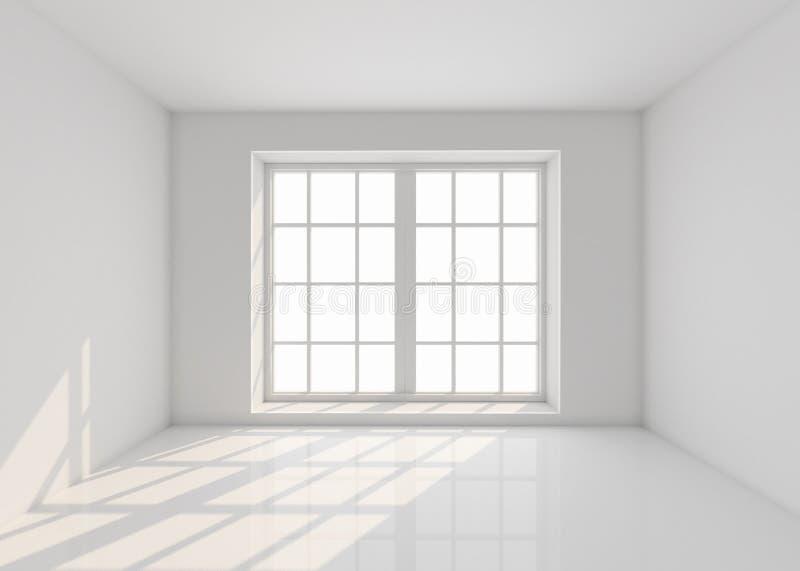 Lege witte ruimte met venster en zonlicht Model, malplaatje 3d geef terug vector illustratie