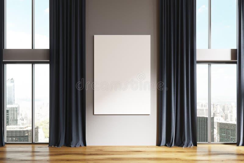 Lege Witte Ruimte, Zwarte Gordijnen, Affiche Stock Illustratie ...