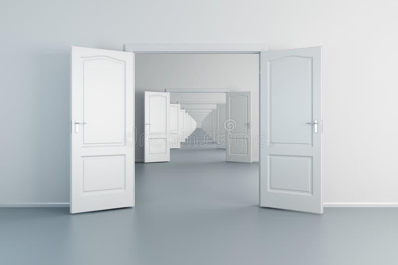 lege witte ruimten met geopende deuren royalty-vrije illustratie
