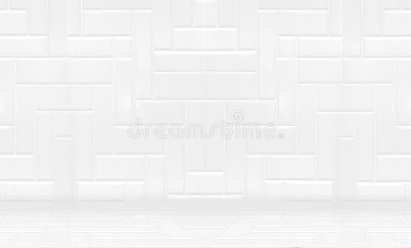 Lege witte schone keramische tegelmuur en Minimale vloerachtergrond, stock afbeeldingen