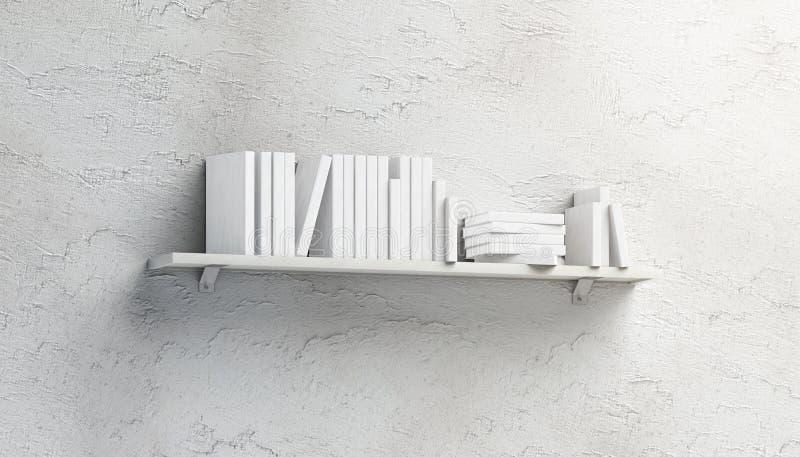 Lege witte stapel boekenmodellen op opgezette plank royalty-vrije stock afbeeldingen