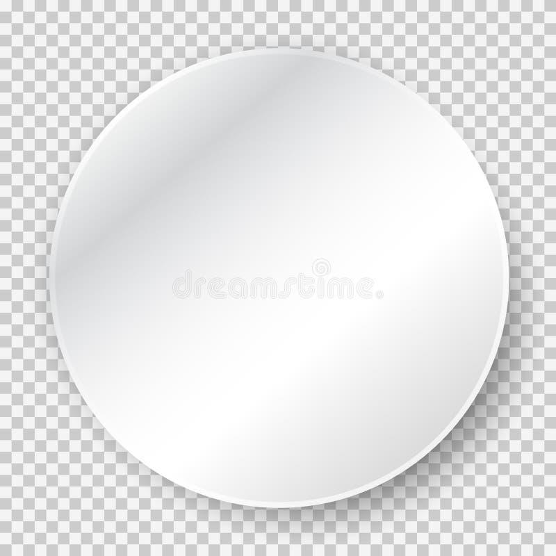 Lege witte stickerspot omhoog, rond 3d document met zachte schaduw stock illustratie