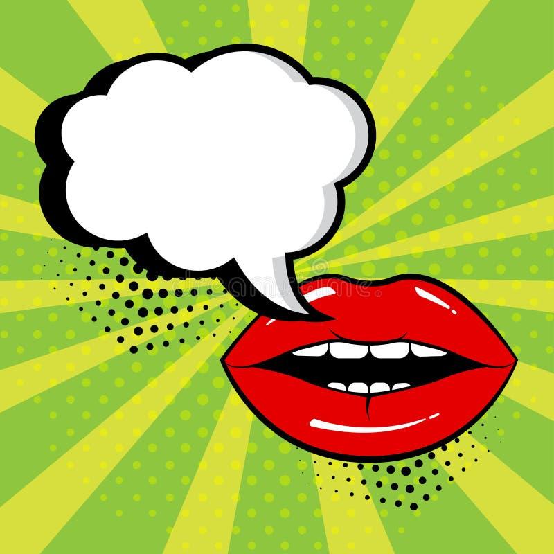 Lege witte toespraakbel voor uw tekst met rode lippen op groene achtergrond Grappige geluidseffecten in pop-artstijl Vector royalty-vrije illustratie