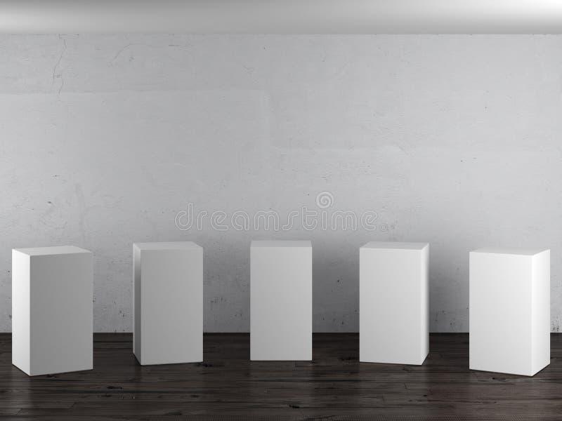 Lege witte tribunes in binnenland stock foto's