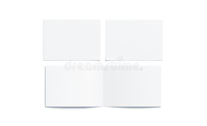 Lege witte twee gevouwen brede boekjesspot omhoog royalty-vrije illustratie
