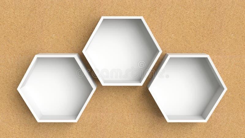 Lege witte zeshoekenplanken op houten muurachtergrond, het 3D teruggeven stock illustratie