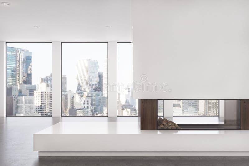 Lege woonkamer met open haard, voorzijde vector illustratie