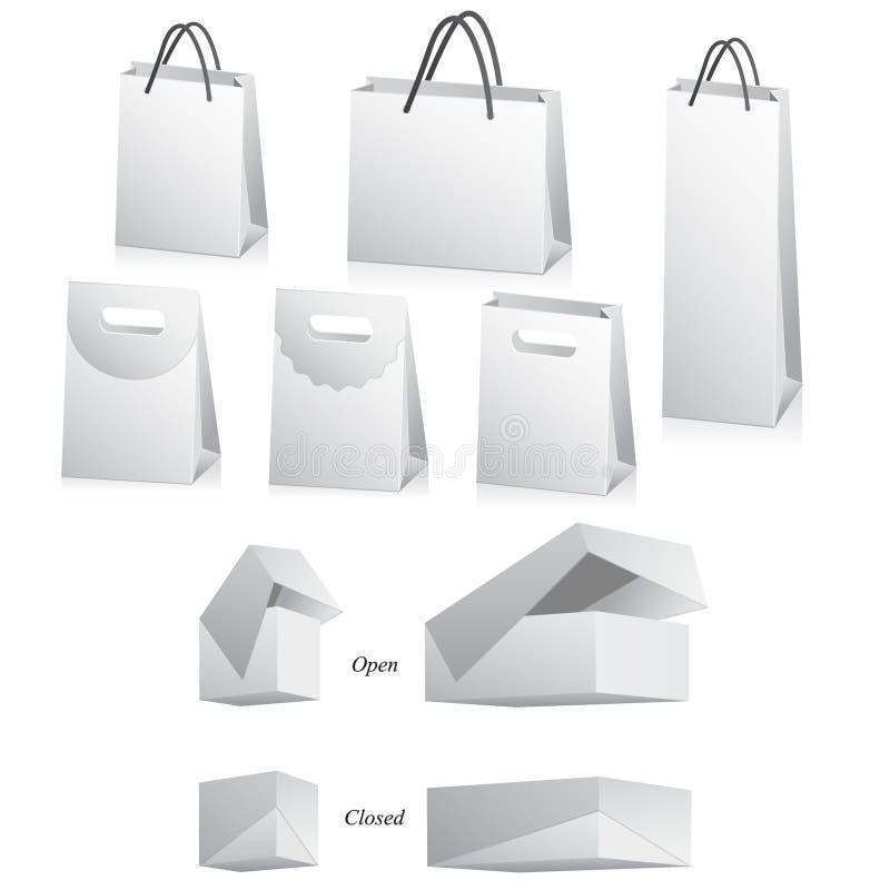 Lege zakken en dozen op wit royalty-vrije illustratie