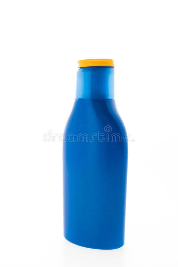 Lege Zonnescherm kosmetische fles stock afbeelding