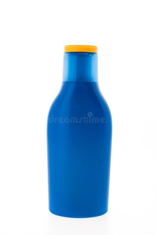 Lege Zonnescherm kosmetische fles royalty-vrije stock foto