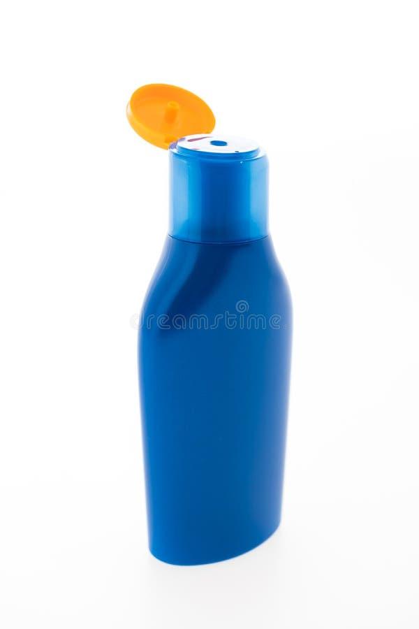 Lege Zonnescherm kosmetische fles royalty-vrije stock fotografie