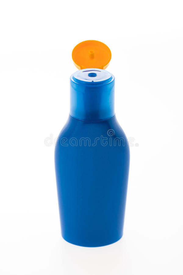 Lege Zonnescherm kosmetische fles stock foto's