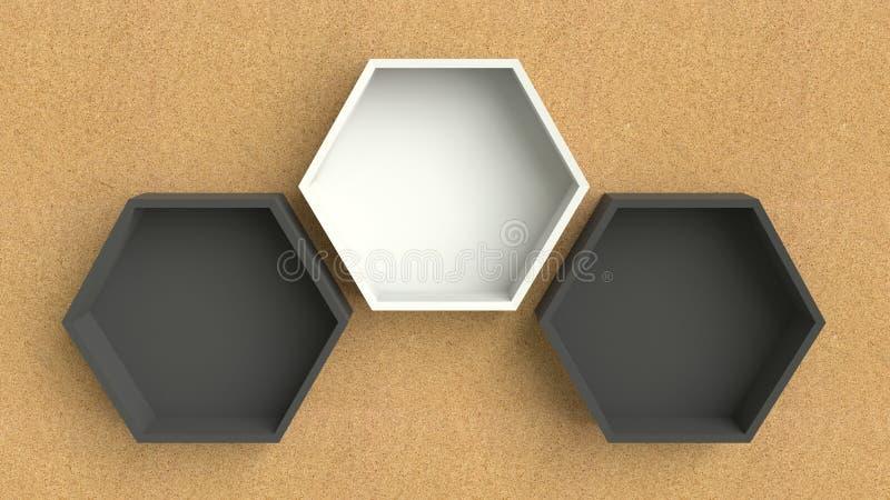 Lege zwart-witte zeshoekenplanken op houten muurachtergrond royalty-vrije illustratie