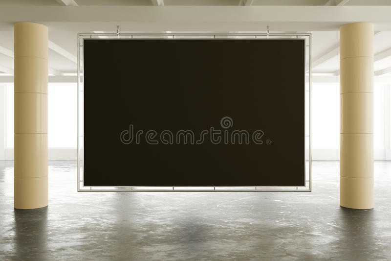Lege zwarte banner in het moderne lege bureau van de zolderopen plek met B stock fotografie