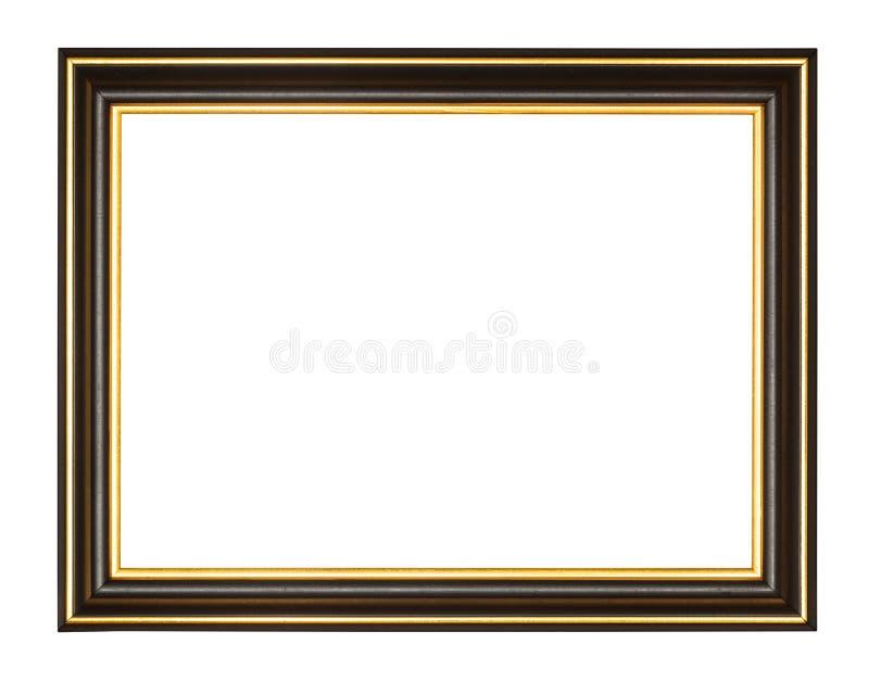 Lege zwarte en gouden houten omlijsting stock afbeelding