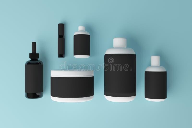 Lege zwarte geneeskundecontainer vector illustratie