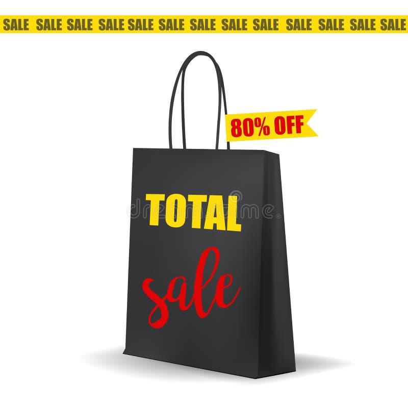 Lege Zwarte het Winkelen Zak Totale Verkoopmarkering royalty-vrije illustratie