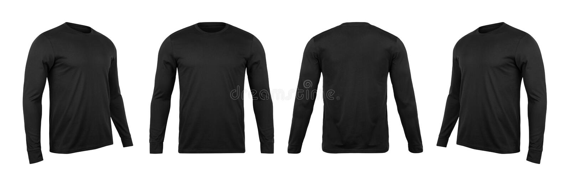 Lege zwarte lange sleve t-shirtspot op malplaatje, voor en achter en zijaanzicht, dat op witte achtergrond met het knippen van we royalty-vrije stock foto