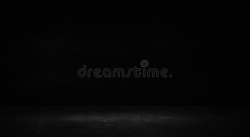 Lege zwarte studioruimte Donkere achtergrond De abstracte donkere lege textuur van de studioruimte stock foto's