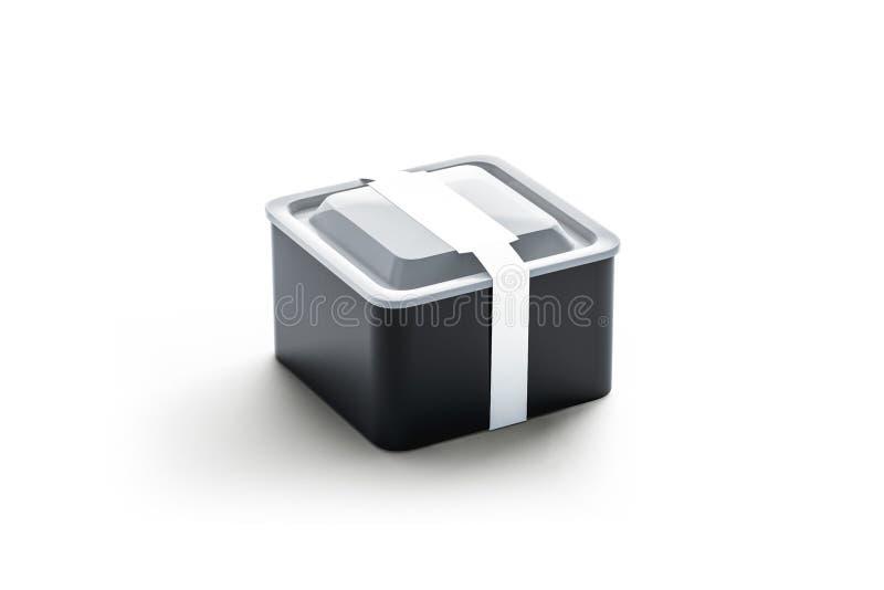 Lege zwarte vierkante beschikbare container met wit rechthoekig etiketmodel, vector illustratie