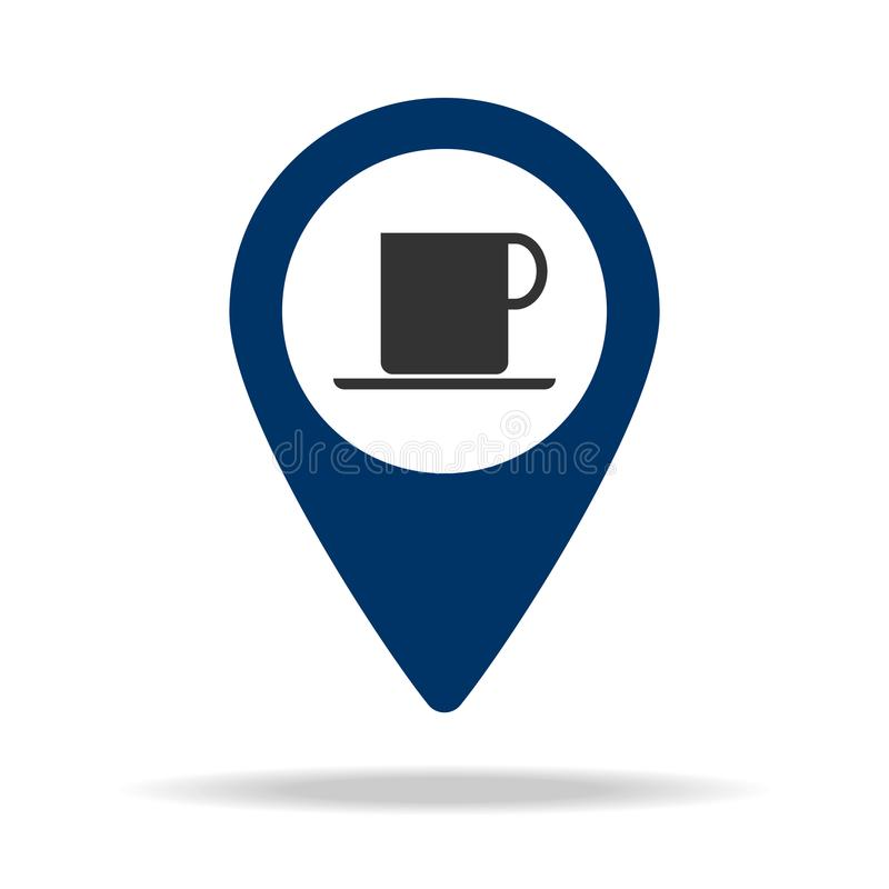 legen Sie Café in blaue Kartenstiftikone Element des Kartenpunktes für bewegliche Konzept und Netz apps Ikone für Websitedesign u lizenzfreie abbildung
